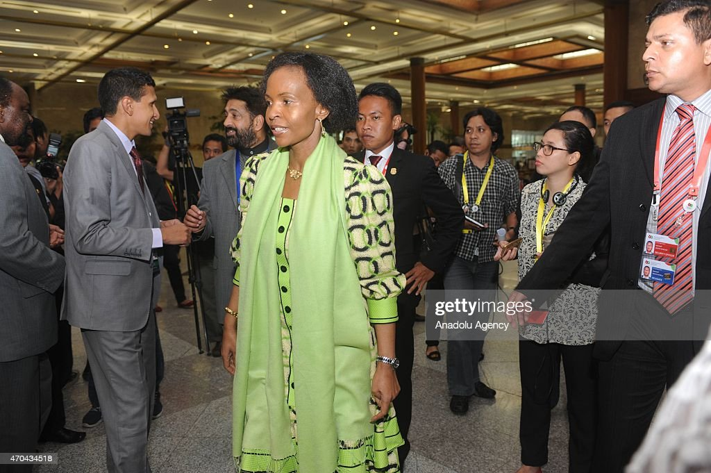 South African Foreign Minister Maite Nkoana-Mashabane (C) walks toward the meeting room during the 60th Asia Africa Ministerial Meeting in Jakarta, Indonesia on 20 April 2015. The 60th Asian-African Conference is being held in Jakarta and Bandung from 19 to 24 April 2015.