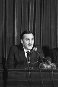 South African Foreign Minister Pik Botha speaks at a 1983 press conference in London after talks with the British Foreign Secretary