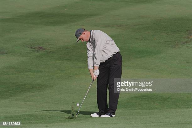 South African golfer Ernie Els pictured in action during competition to win the 1995 Toyota World Match Play Championship at Wentworth Golf Club near...