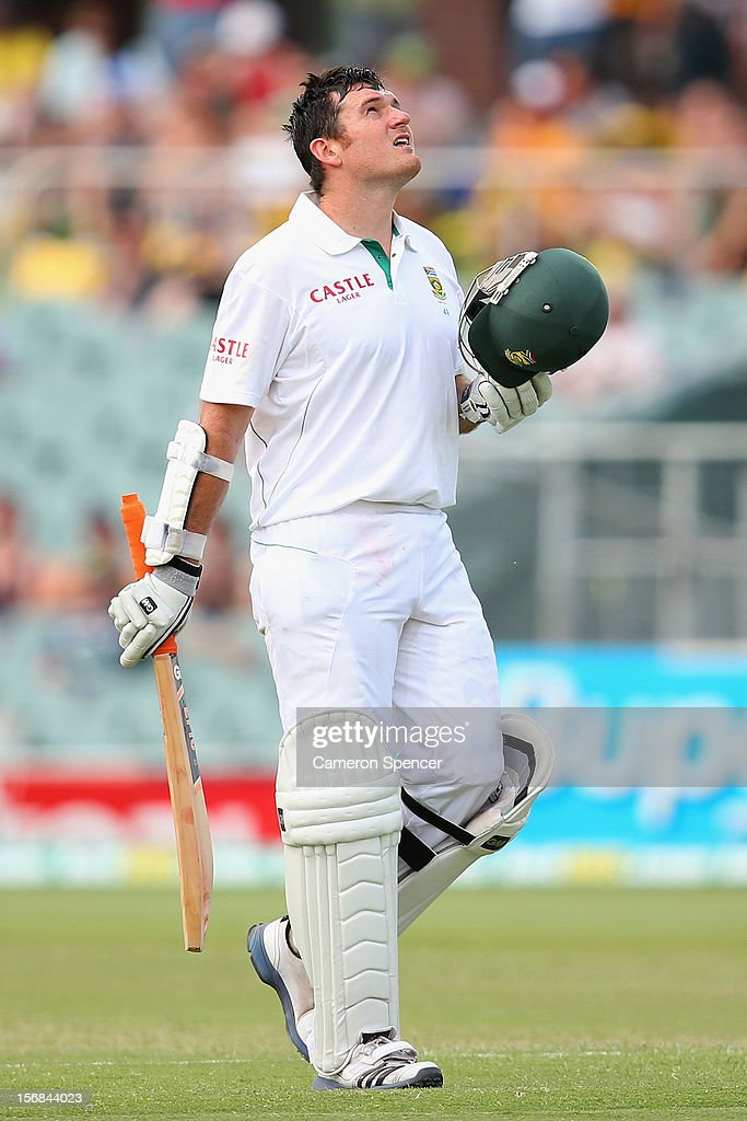 South African <a gi-track='captionPersonalityLinkClicked' href=/galleries/search?phrase=Graeme+Smith&family=editorial&specificpeople=193816 ng-click='$event.stopPropagation()'>Graeme Smith</a> celebrates scoring a century during day two of the Second Test match between Australia and South Africa at Adelaide Oval on November 23, 2012 in Adelaide, Australia.