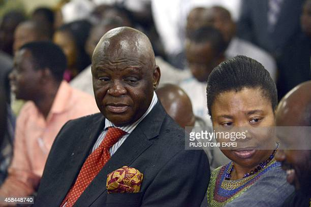 South African High Commissioner to Nigeria Lulu Mnguni sits at the coroner's court in Lagos on November 5 2014 during the coroner's inquest on the...