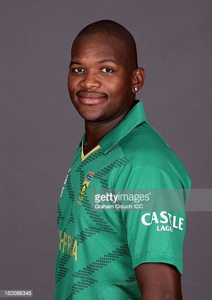 South African Lonwabo Tsotsobe poses at a portrait session ahead of the ICC T20 World Cup on September 16 2012 in Colombo Sri Lanka