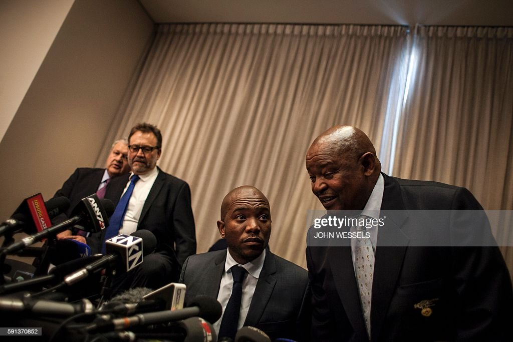 South African main opposition party Democratic Alliance leader Mmusi Maimane and opposition party Congress of the People leader Mosiuoa Lekota speak...