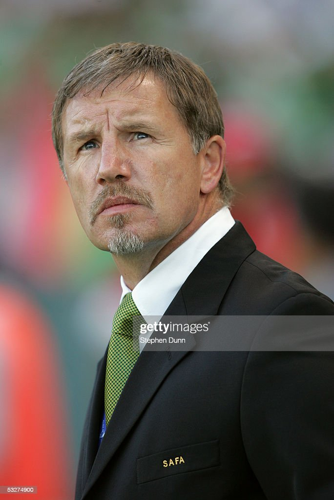 South African manager Stuart Baxter watches the game against Mexico during the CONCACAF Gold Cup on July 8 2005 at the Home Depot Center in Carson...