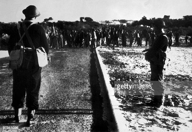 South African marines troops stop black protestors from marching to Cape Town in Nyanga 02 April 1960 Despite the state of emergency black protestors...