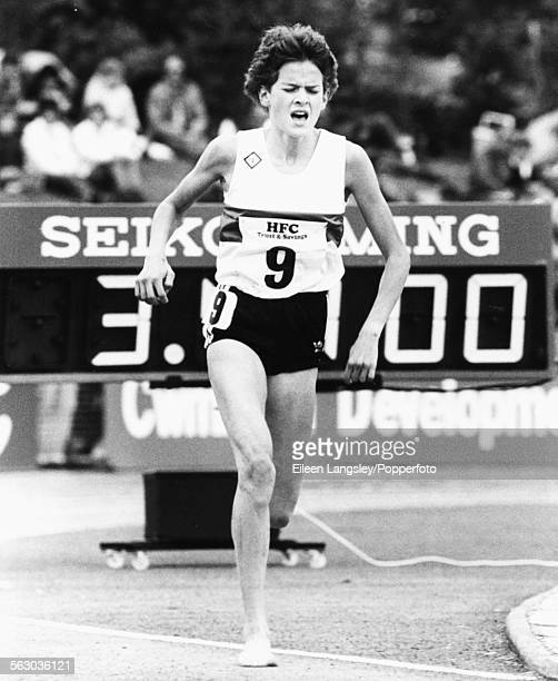 South African middle distance runner Zola Budd competes in a track event at the UK Athletics Championships in Cwmbran Wales 1984