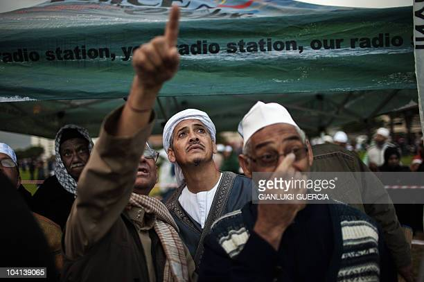 South African muslims attempt to spot the new moon that would mark the end of the fasting month of Ramadan and the starting of the Eid al Fitr...