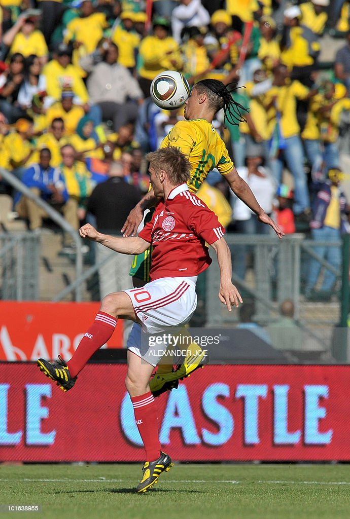 South African national football team midfielder Steven Pienaar (R) fights for the ball with Denmark's midfielder Nicklas Kahlenberg during their friendly match at Super Stadium in Pretoria on June 5, 2010 ahead of the FIFA 2010 World Cup in South Africa.