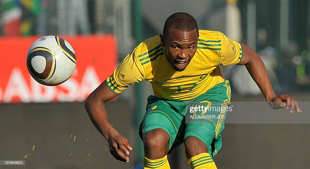 South African national football team striker Bernard Parker eyes the ball during a friendly match against Denmark at Super Stadium in Pretoria on June 5, 2010 ahead of the FIFA 2010 World Cup in South Africa.