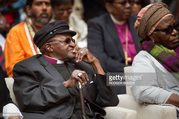 South African Nobel Peace Prize laureate Archbishop Desmond Tutu attends the unveiling ceremony of the 'Arch for the Arch' as part of celebrations...