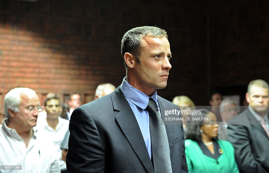 South African Olympic sprinter Oscar Pistorius appears on February 19, 2013 at the Magistrate Court in Pretoria. Pistorius battled to secure bail as he appeared on charges of murdering his model girlfriend Reeva Steenkamp on February 14, Valentine's Day. South African prosecutors will argue that Pistorius is guilty of premeditated murder in Steenkamp's death, a charge which could carry a life sentence.