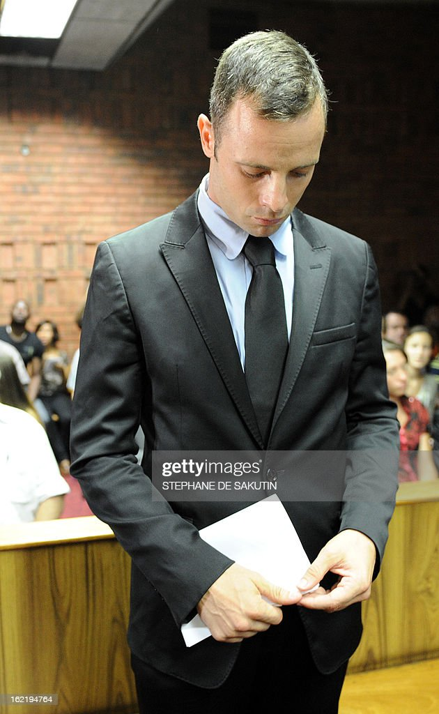 South African Olympic sprinter <a gi-track='captionPersonalityLinkClicked' href=/galleries/search?phrase=Oscar+Pistorius&family=editorial&specificpeople=224406 ng-click='$event.stopPropagation()'>Oscar Pistorius</a> appears on February 20, 2013 at the Magistrate Court in Pretoria. Pistorius battled to secure bail as he appeared on charges of murdering his model girlfriend Reeva Steenkamp on February 14, Valentine's Day. South African prosecutors will argue that Pistorius is guilty of premeditated murder in Steenkamp's death, a charge which could carry a life sentence.