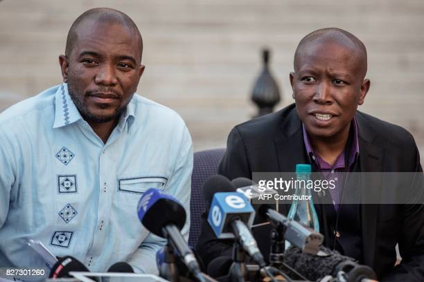 South African opposition Parties leaders Julius Malema for the Economic Freedom Fighters and Mmusi Maimane for the Democratic Alliance give a press...