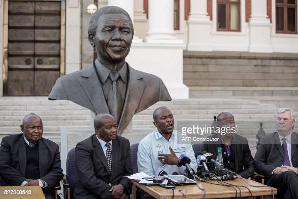 South African opposition Parties leaders Julius Malema for the Economic Freedom Fighters Mmusi Maimane for the Democratic Alliance Bantu Holomisa for...