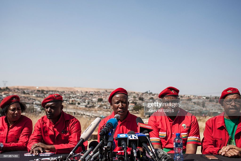 South African opposition party Economic Freedom Fighters Leader Julius Malema gives a press briefing on coalition after municipal elections on August...