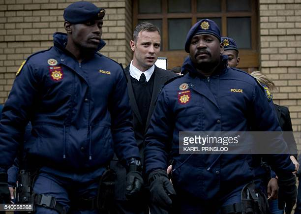 South African Paralympian Oscar Pistorius leaves the Pretoria High Court on June 14 2016 on the second day of his pre sentencing hearing set to send...