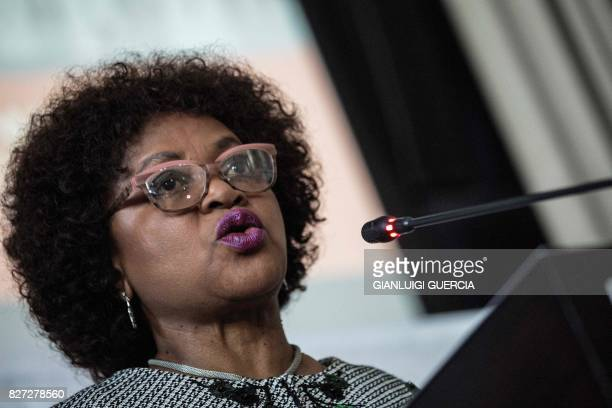 South African Parliament speaker Baleka Mbete gives a press conference to announce procedure for the voting on the Motion of no Confidence in South...