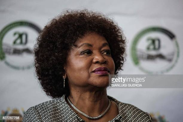 South African Parliament Speaker Baleka Mbete gives a press conference where she announced procedure for the voting on the Motion of no Confidence in...