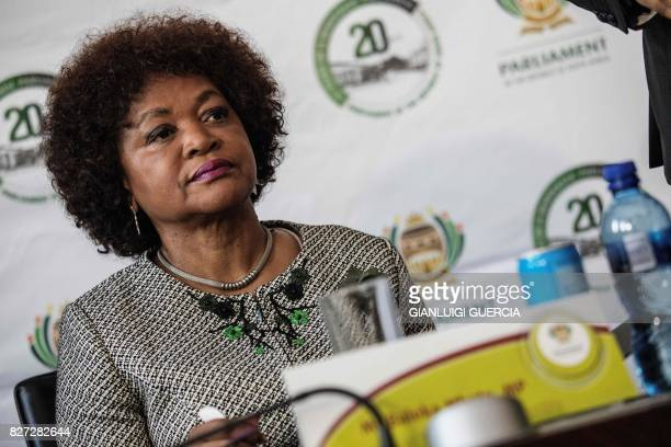 South African Parliament speaker Baleka Mbete looks on during a press conference to announce procedure for the voting on the Motion of no Confidence...