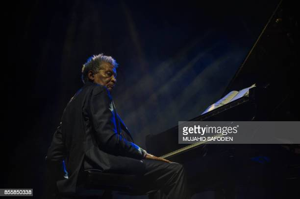 South African pianist Abdullah Ibrahim performs at the 20th Standard bank Joy of Jazz festival at the Sandton Convention Center in Johanneburg on...
