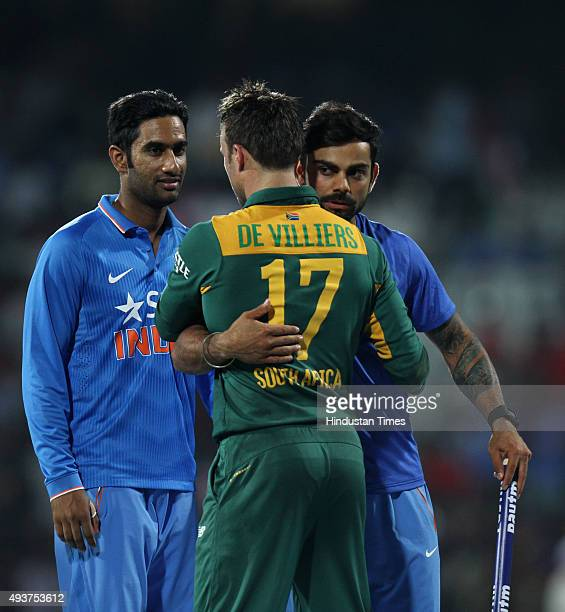 South African player AB de Villiers hugs Virat Kohli after India's victory against South Africa played at MA Chidambaram Stadium or Chepauk Stadium...