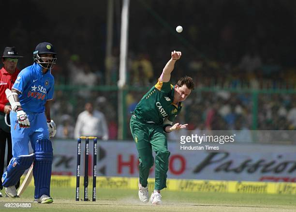 South African player Dale Steyn bowls during the first One Day International match between India vs South Africa at Green Park Stadium on October 11...
