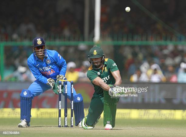 South African player Faf du Plessis in action during the first One Day International match between India vs South Africa at Green Park Stadium on...