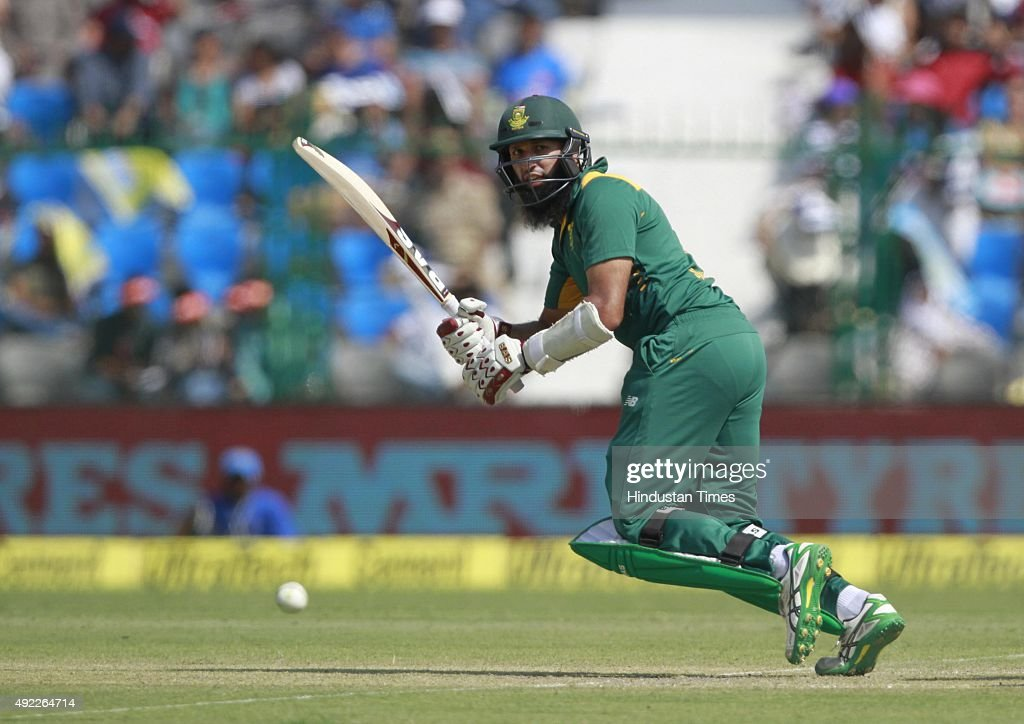 South African player Hashim Amla in action during the first One Day International match between India vs South Africa at Green Park Stadium on...