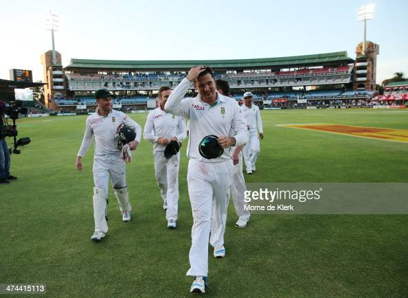 South African players come from the field led by their captain Graeme Smith after winning the match during day four of the Second Test match between...
