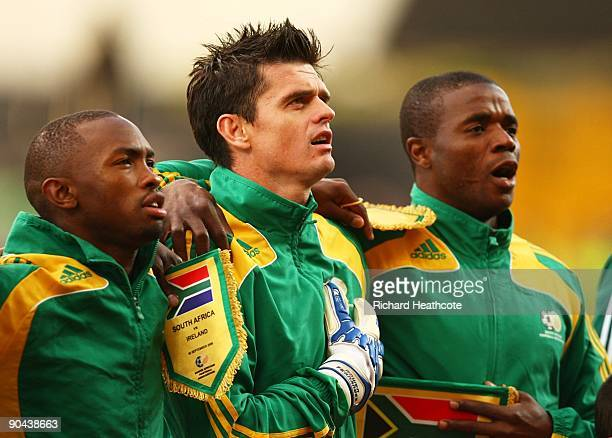 South African players sing their national anthem prior to kickoff during the International friendly match between the Republic of Ireland and South...