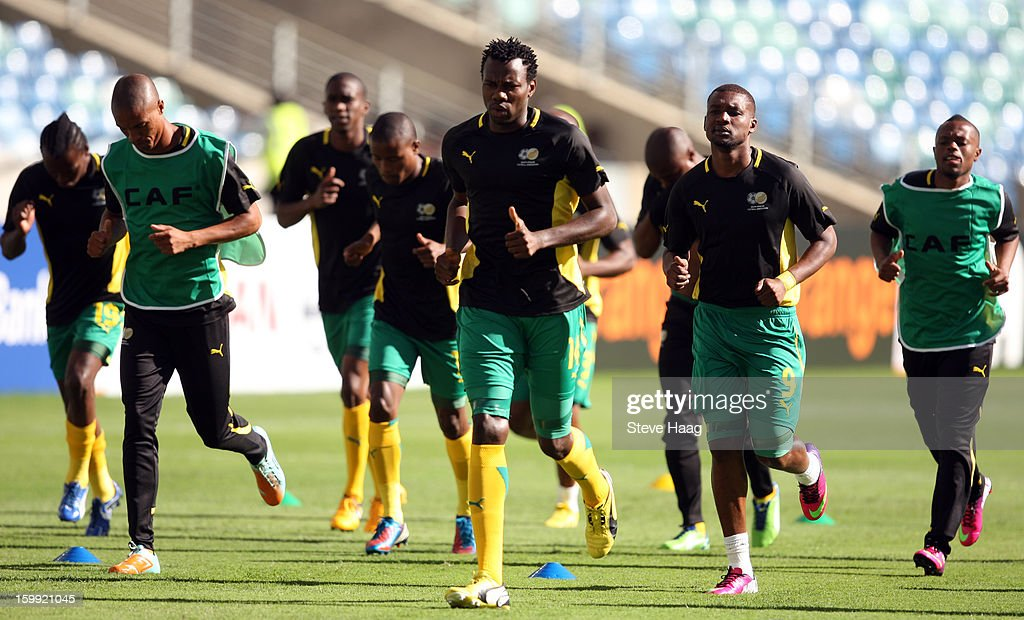 South African players warm up during the 2013 African Cup of Nations match between South Africa and Angola at Moses Mahbida Stadium on January 23, 2013 in Durban, South Africa.