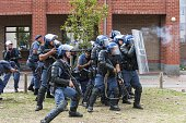 South African police clash with students from the University of Western Cape and protesters during a demonstration in Cape Town on November 11 2015...