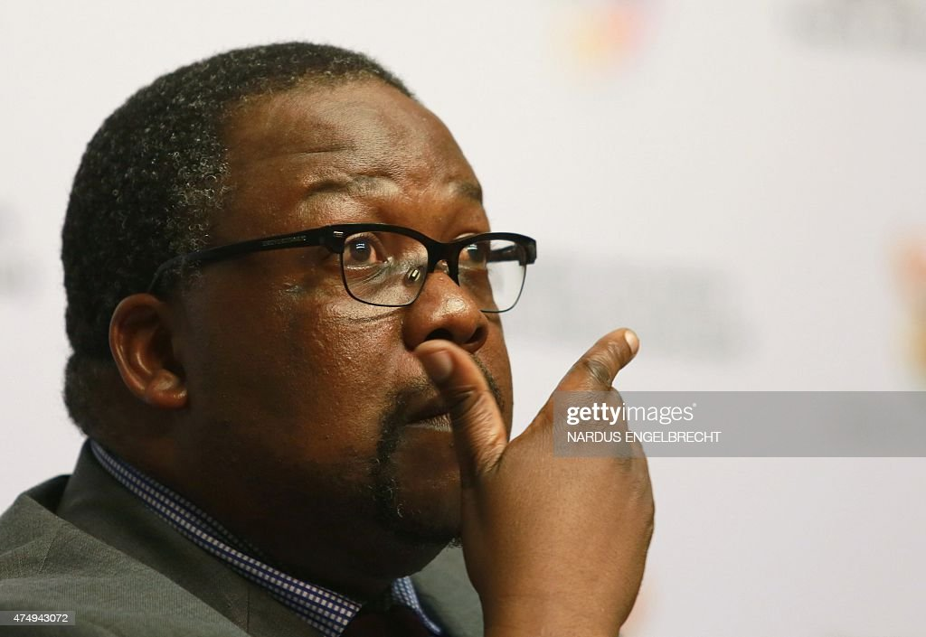 South African Police Minister Nathi Nhleko briefs the media on the president's Nkandla homestead project in Cape Town on May 28 2015 South African...