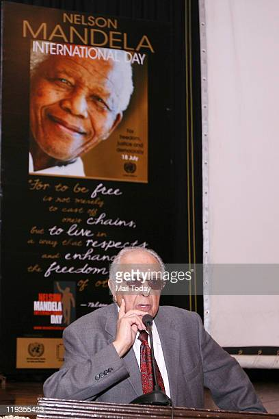 South African politician and antiapartheid activist Ahmed Kathrada at a function to mark Nelson Mandela International Day in New Delhi on July18 2011