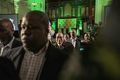 South African president and South African ruling party African National Congress president Jacob Zuma arrives to attend a Municipal elections...