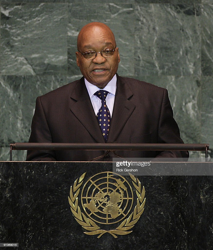 South African President <a gi-track='captionPersonalityLinkClicked' href=/galleries/search?phrase=Jacob+Zuma&family=editorial&specificpeople=564982 ng-click='$event.stopPropagation()'>Jacob Zuma</a> addresses the United Nations General Assembly at the U.N. headquarters on September 23, 2009 in New York City. This is the 64th session of the United Nations General Assembly featuring leaders from over 120 countries.