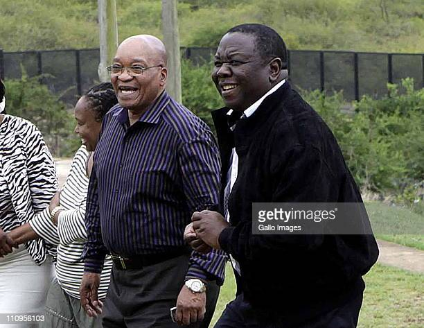 South African President Jacob Zuma and Zimbabwean Prime Minister Morgan Tsvangirai at the President's home in Nkandla KwaZuluNatal South Africa on 26...