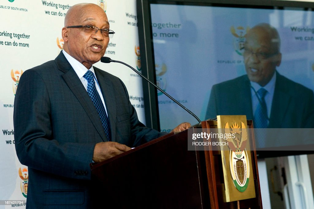 South African President Jacob Zuma announces the tourism figures for 2012 on April 25, 2013, in Cape Town. A record 9.2 million tourists visited South Africa last year, revealing a surge in visitors from China. China is now South Africa's fourth largest source of tourists, recording a 55.9 percent jump in the number of visitors.The number of tourists travelling to South Africa grew by more than 10 percent, despite the global economic crisis. Britons were the most frequent visitors, followed by the Americans and Germans. AFP PHOTO/ RODGER