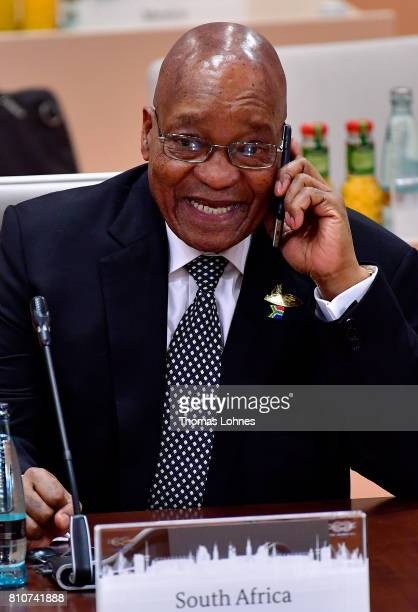 South African President Jacob Zuma arrives for the morning working session on the second day of the G20 economic summit on July 8 2017 in Hamburg...