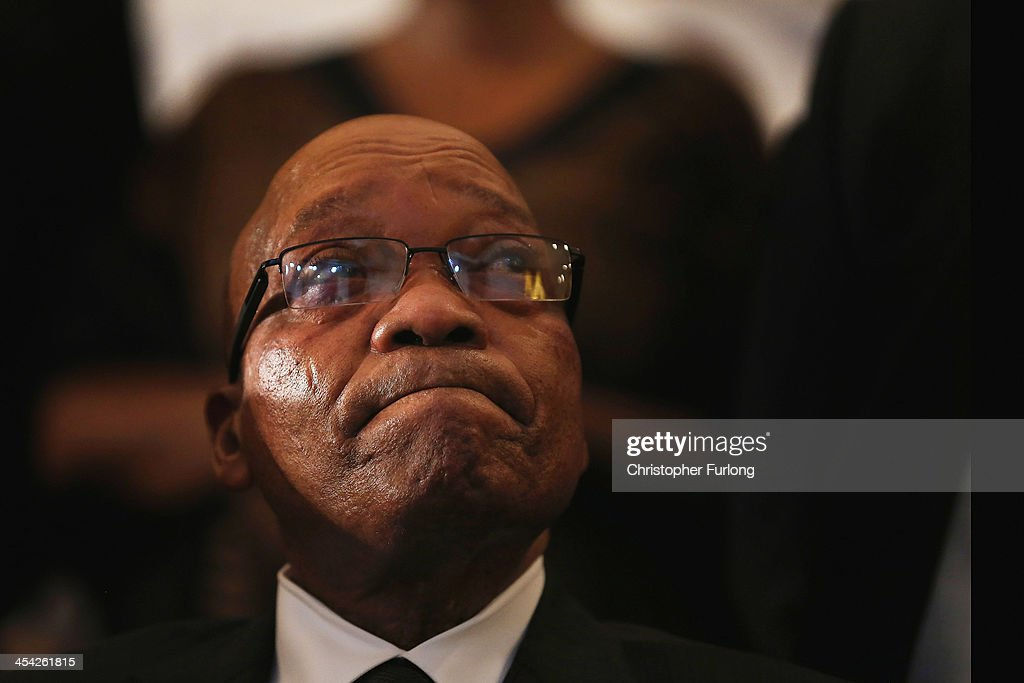 South African President Jacob Zuma attends a service at Bryanston Methodist Church during a national day of prayer, on December 8, 2013 in Johannesburg, South Africa. Mandela, also known as Madiba, passed away on the evening of December 5th, 2013 at his home in Houghton at the age of 95. Mandela became South Africa's first black president in 1994 after spending 27 years in jail for his activism against apartheid in a racially-divided South Africa