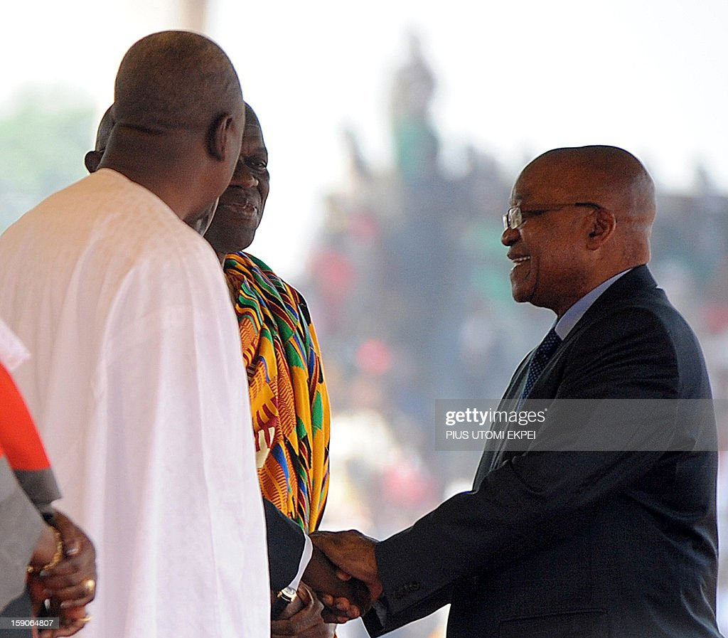 South African President Jacob Zuma (R) congratulates Ghanaian President John Mahama and Vice President Kwesi Amissah-Arthur during their inauguration at the Independence Square in Accra in January 7, 2013. Ghanaian President John Dramani Mahama has been sworn-in into office despite a court challenge by the main opposition New Patriotic party, citing alleged voting fraud resulting in the absence of party officials at the swearing-in ceremony attended by nine heads of state.