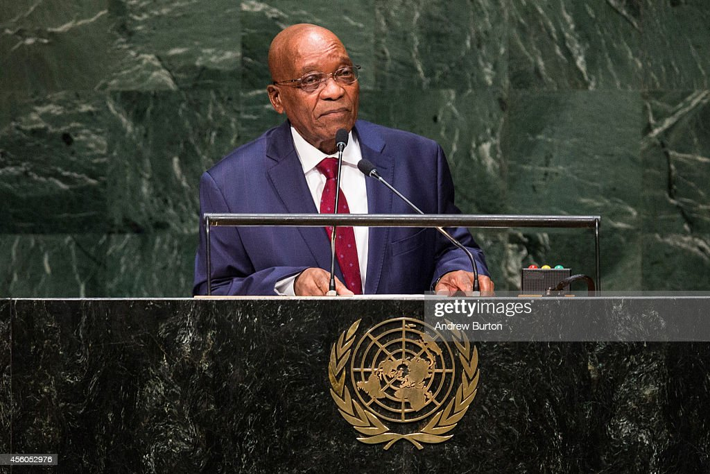 South African President Jacob Zuma speaks at the 69th United Nations General Assembly on September 24, 2014 in New York City. The annual event brings political leaders from around the globe together to report on issues and look for solutions.