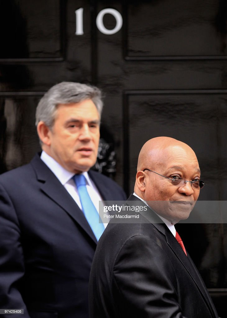 South African President Jacob Zuma (R) stands outside Number 10 Downing Street as Prime Minister Gordon Brown looks on on March 4, 2010 in London, England. President Zuma and his wife are visiting the United Kingdom on a three-day state visit.