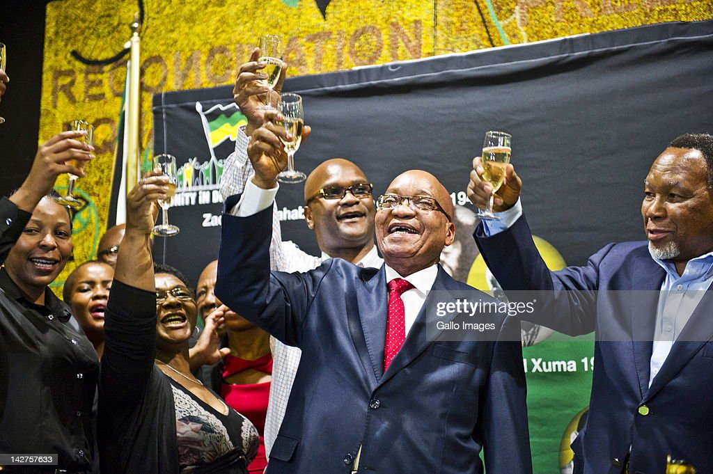 South African President Jacob Zuma toasts his 70th Birthday at Luthuli House on April 12, 2012 in Johannesburg, South Africa. Kgalema Motlanthe, Nathi Mthethwa and Gwede Mantashe were also present.