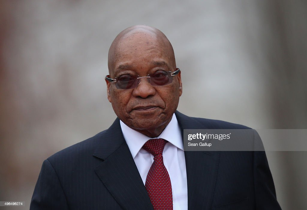 South African President Jacob Zuma walks with German Chancellor Angela Merkel (not pictured) upon Zuma's arrival at the Chancellery on November 10, 2015 in Berlin, Germany. Zuma is on a three-day official visit to Germany.