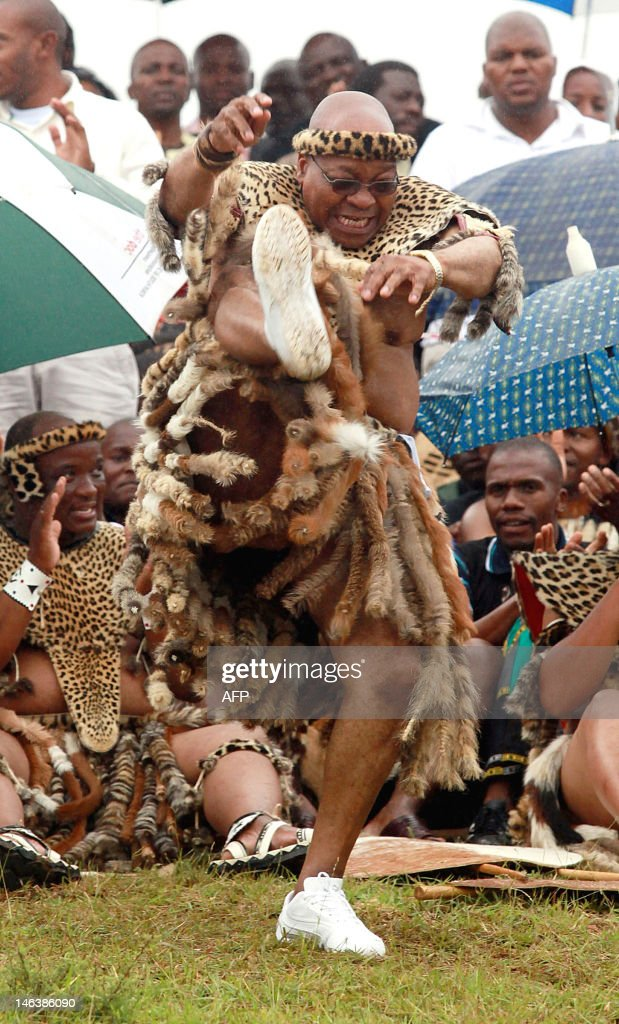 South African President Jacob Zuma wearing leopard skins sings and dances with his newly wed Thobeka Madiba at their wedding ceremony on January 4...