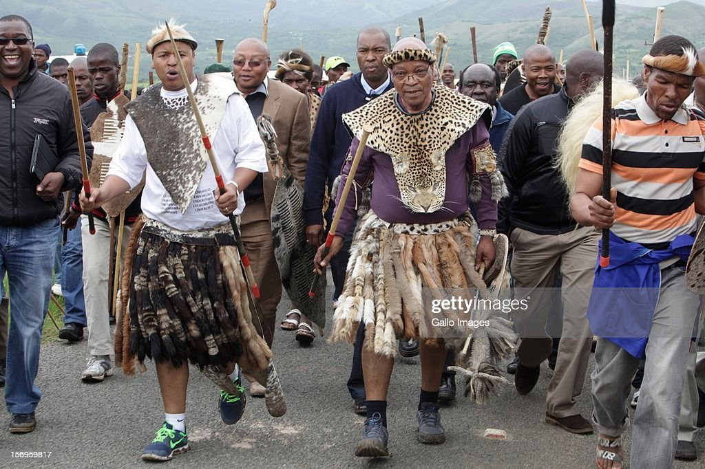 South African President Jacob Zuma's clan hold a traditional ceremony on November 25 2012 at his Nkandla homestead South Africa The ceremony appeals...