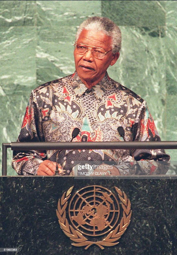 South African President Nelson Mandela speaks before a special session of the United Nations General Assembly 23 October Mandela appealed to the UN...