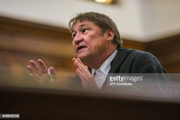 South African president's lawyer Kemp J Kemp speaks to court during the spy tape case at the Supreme Court of Appeal in Bloemfontein on September 14...