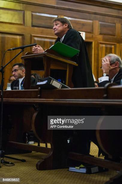 South African president's lawyer Kemp J Kemp speaks to the court during the spy tape case at the Supreme Court of Appeal in Bloemfontein on September...